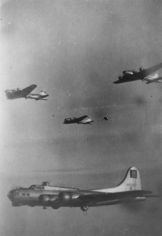 B-17 Flying Fortresses, including B-17 (serial number 44-6622) nicknamed