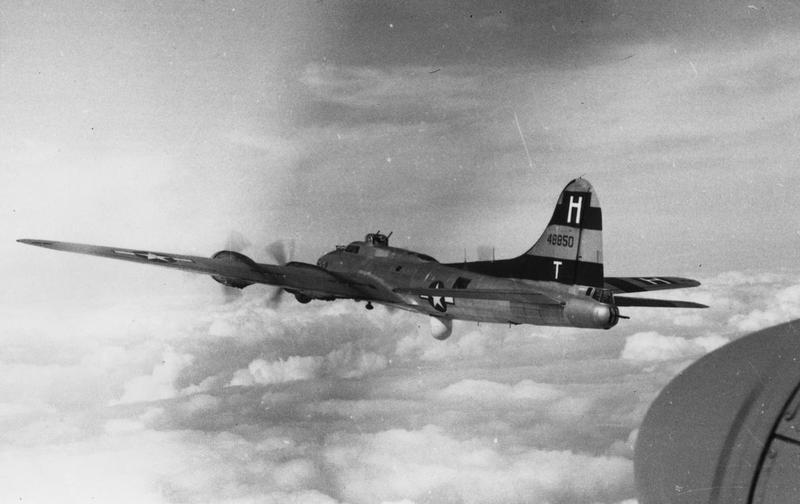 A B-17 Flying Fortress (serial number 44-8850) of the 388th Bomb Group.