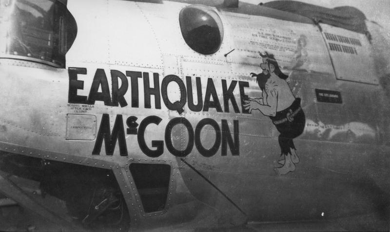 The nose art of a B-24 Liberator (serial number 42-50452) nicknamed