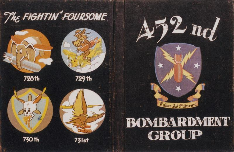 The insignia of the 452nd Bomb Group and the 728th, 729th, 730th and 731st Bomb Squadrons. Image via Walt Chochrek. Handwritten caption on reverse: 'How's this for Yankee insignia Roger?'