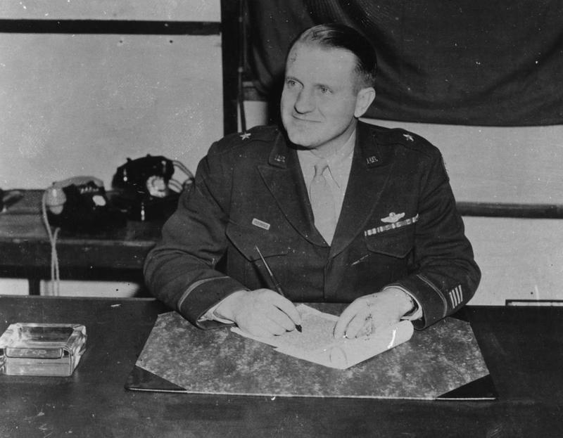 General Ted Timberlake of the 453rd Bomb Group. Handwritten caption on reverse: 'Gen Ted Timberlake CO 2BW.'