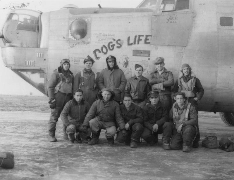 A bomber crew of the 458th Bomb Group with their B-24 Liberator (serial number 44-40281) nicknamed