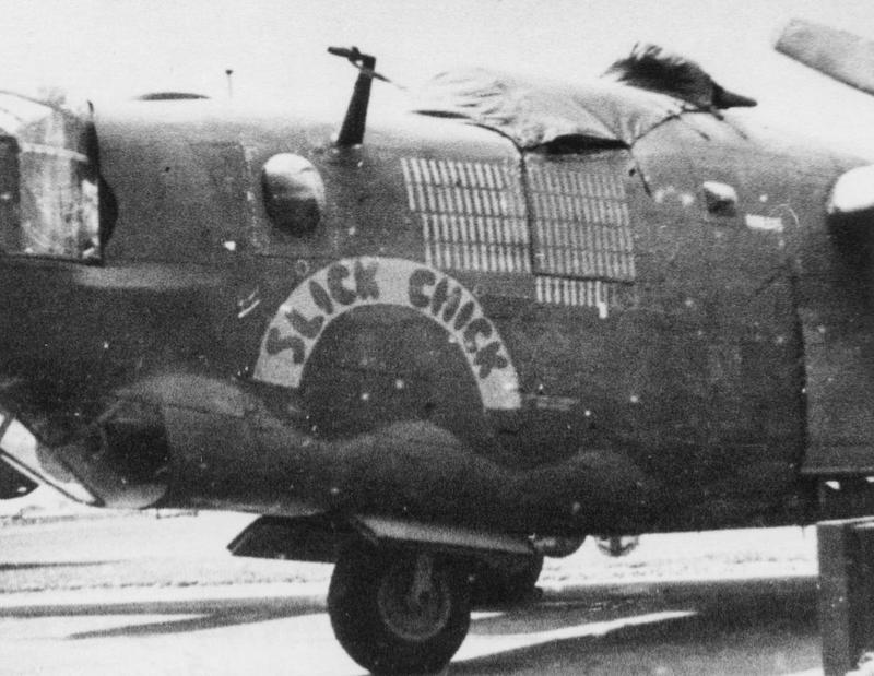 The nose art of a B-24 Liberator (serial number 42-94979) nicknamed