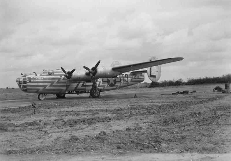 A B-24 Liberator of the 466th Bomb Group used as a flight assembly ship. Handwritten caption on reverse: 'B-24 Leaders ship.'
