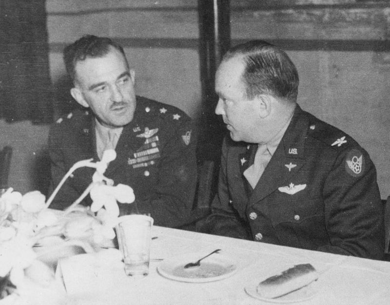 MGEN William B. Kepner (Left) - Commander of the 2nd Air Division - 8th AF COL Elvin S. Ligon - Commander of the 466th BG - 2nd Air Division - 8th AF Photo taken on the occasion of the 466th BG's 200th mission party.