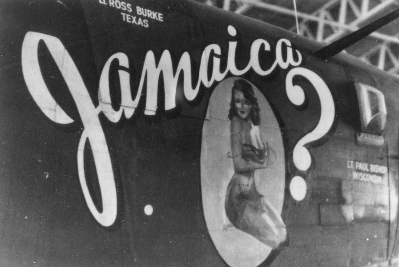 The nose art of a B-24 Liberator (serial number 41-28746) nicknamed