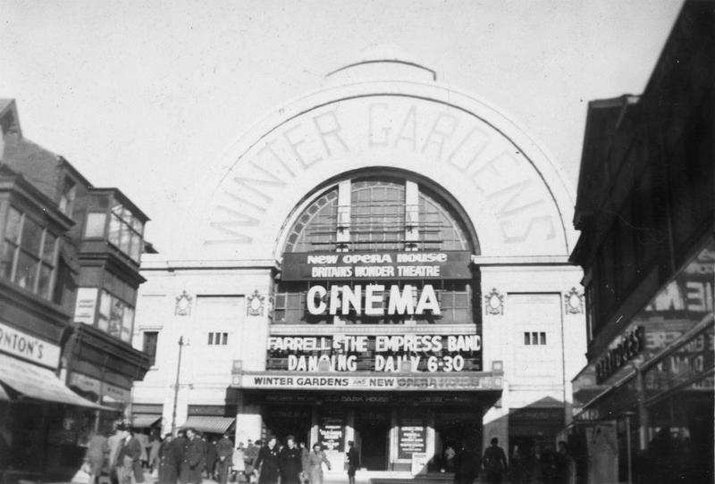 The Winter Gardens cinema in Liverpool, taken by Charles E Jackson of the 467th Bomb Group. Image by Charles E Jackson. Handwritten caption on reverse: 'Liverpool, Eng.'