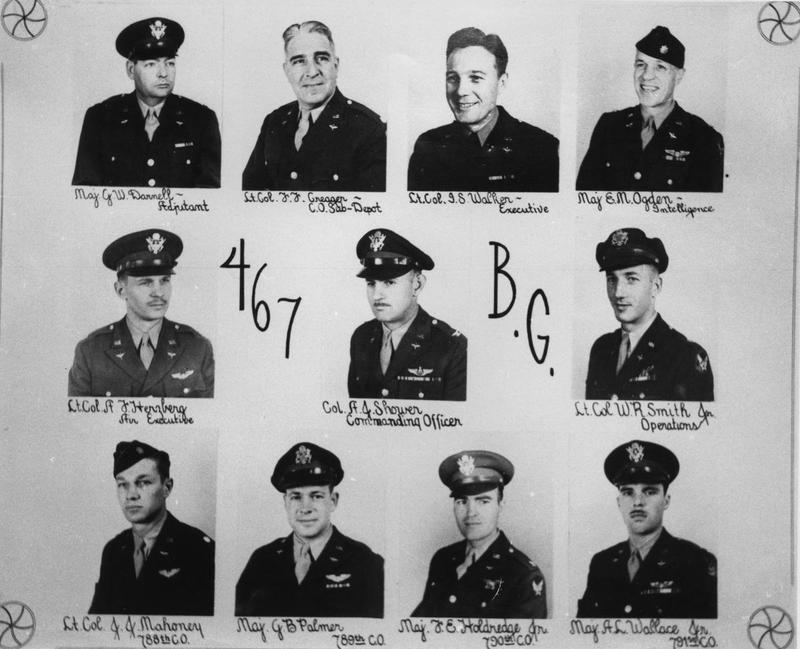 A composite showing the commanding officers of the 467th Bomb Group.