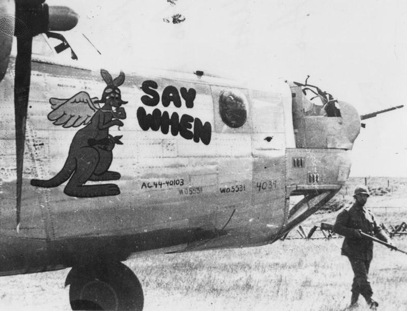 A Swedish soldier guards the nose of a B-24 Liberator (serial number 44-40103) nicknamed