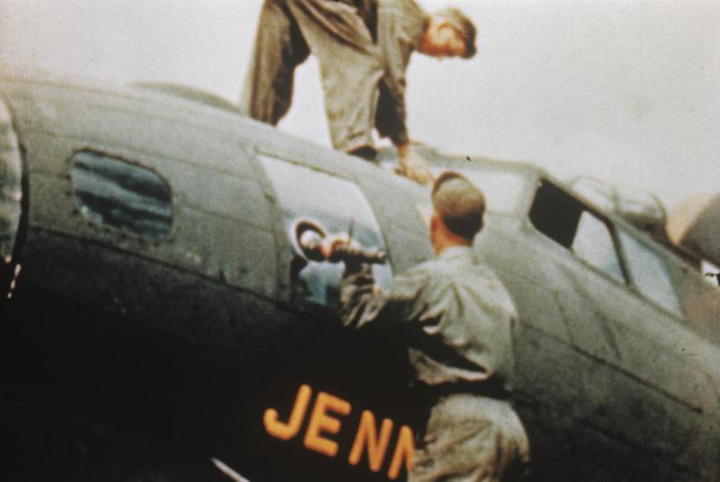 Ground personnel of the 351st Bomb Group work on a B-17 Flying Fortress (serial number 42-29948) nicknamed