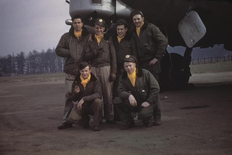 A bomber crew of the 96th Bomb Group with their B-17 Flying Fortress, January 1945. Standing left to right: Kirkpatrick, Henry J Stravato, Raymond Haule and