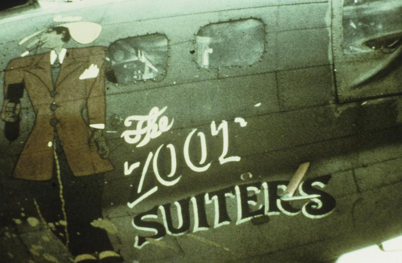 The nose art of a B-17 Flying Fortress (serial number 42-30235) nicknamed