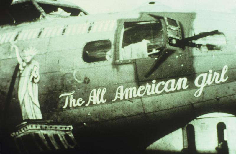 The nose art of a B-17 Flying Fortress (serial number 42-37936 EP-M) nicknamed