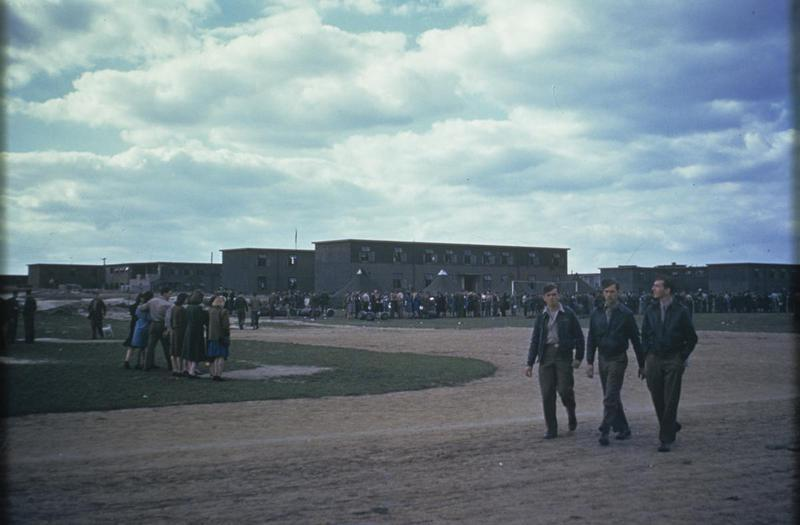 Personnel of the 91st Bomb Group at a Parade at Bassingbourn to celebrate their second year in the European Theatre of Operations, 17 September 1944. Image by Dale J Darling, 91st Bomb Group. Written on slide casing: 'Parade- 17/9/44 Bassingbourn.'