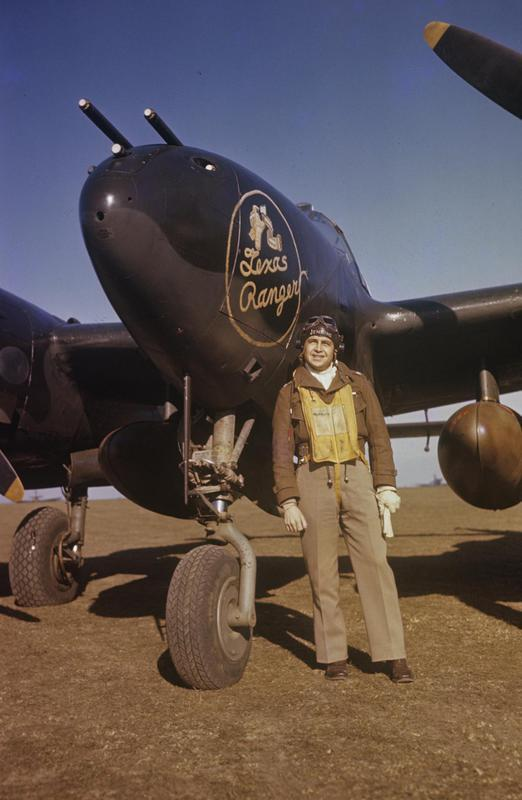 Colonel Jack S. Jenkins of the 55th Fighter Group by the nose of his P-38 Lightning, named