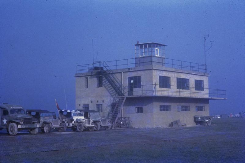 The control tower at Fowlmere, home of the 339th Fighter Group, 1945. Image via James G Robinson. Written on slide casing: 'Fowlmere Tower, 1945.'
