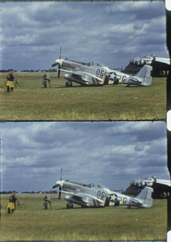 A P-51D Mustang (OS-G, serial number 44-13728) of the Experimental Scouting Force (SFX), with a B-17 Flying Fortress at Podington. The underscore to the 357th Fighter Squadron code
