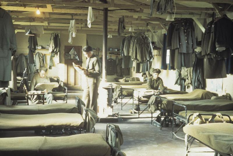 Personnel of the 1066th Signal Company inside barracks at Steeple Morden, home of the 355th Fighter Group. Image by Alexander