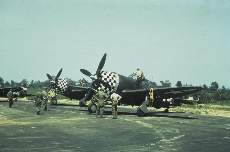 P-47 Thunderbolt aircraft of the 83rd Fighter Squadron, 78th Fighter Group at Duxford.  The middle aircraft is 43-25528 HL-H 'Noamie Vee' while the nearest aircraft is probably 42-28518 HL-C