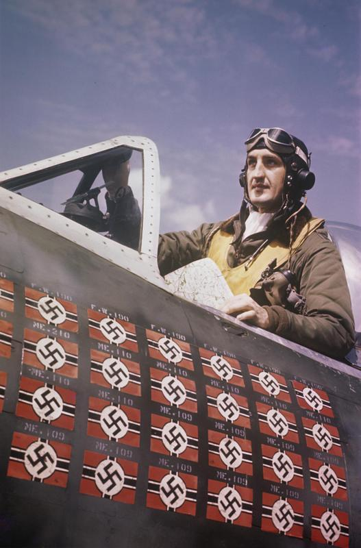 Lieutenant colonel Francis S. Gabreski of the 56th Fighter Group in the cockpit of his P-47 Thunderbolt Handwritten on slide: