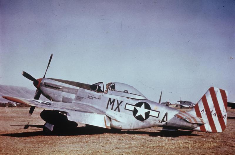 A P-51 Mustang (MX-A, serial number 44-13464), flown by Major Sam Brown of the 31st Fighter Group, 15th Air Force.
