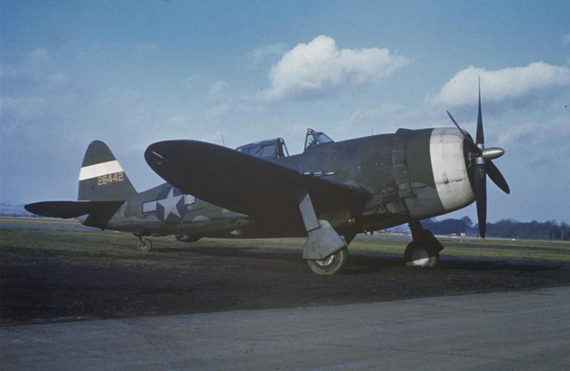 A P-47 Thunderbolt (serial number 42-8442) formerly of the 56th Fighter Group, used as a hack plane and formation monitor by the 91st Bomb Group at Bassingbourn, Image by William D