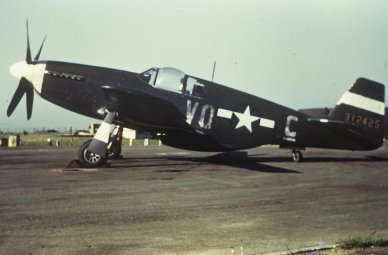 A P-51 Mustang (VQ-C_, serial number 43-12425) used as a hack plane by the 310th Ferry Squadron, 27th Air Transport Group at Mount Farm.   Image by Robert Astrella. Written on slide casing: 'VII FC Tec' ops. VQ-C_.'