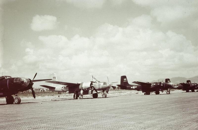 A-26 Invaders, including (serial number 43-22575) of the 47th Bomb Group, 12th Air Force lined up in Italy.