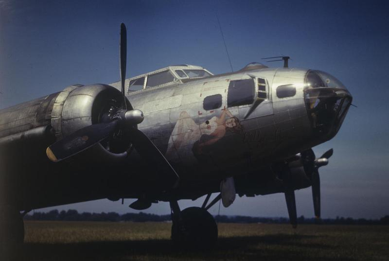 The nose art of a B-17 Flying Fortress (serial number 43-38782) nicknamed