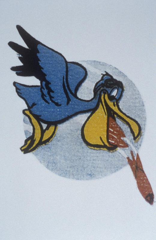 The 'semiofficial' insignia of the 44th Bomb Group. The Pelican was the 67th BS. The 67th was the only one of the 44th to have two squadron patches, it was worn on the right side while the eight ball on the left.