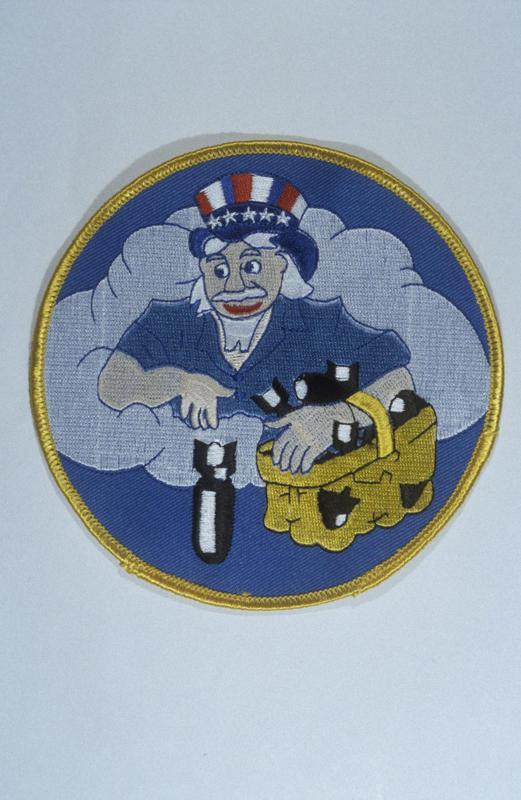 The insignia of the 524th Bomb Squadron, 379th Bomb Group. This insignia was designed by S/Sgt John