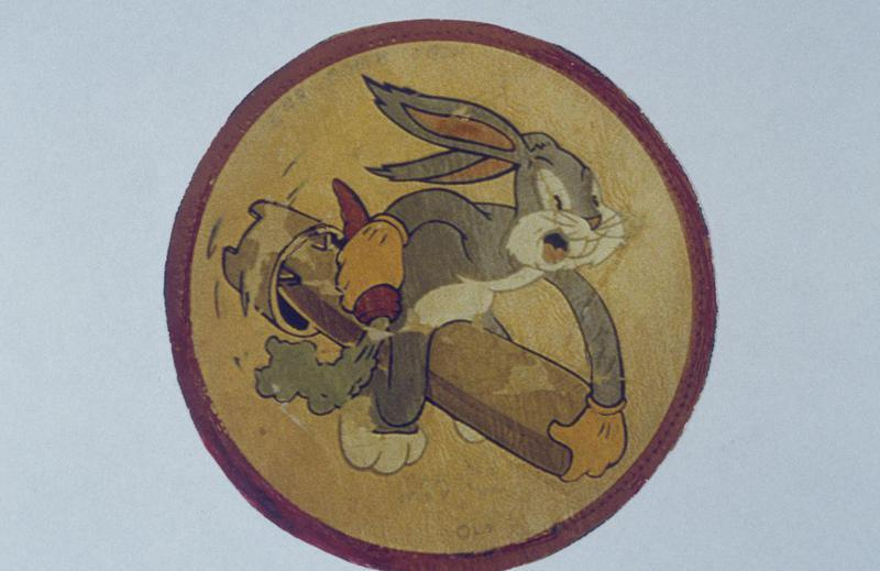 The insignia of the 548th Bomb Squadron, 385th Group. Featuring Bugs Bunny.