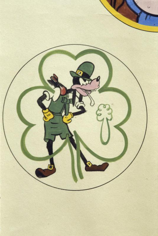 The insignia of the 602nd Bomb Squadron, 398th Bomb Group. Featuring the Disney character 'Goofy'.