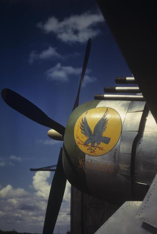 The nose art of a a P-47 Thunderbolt (serial number 42-26637) nicknamed