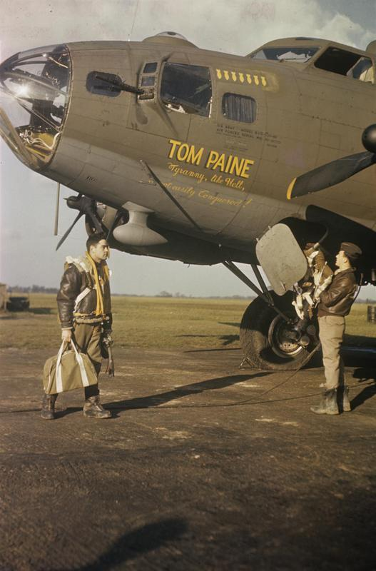 Airmen of the 388th Bomb Group climb aboard their B-17 Flying Fortress (serial number 42-30793) nicknamed
