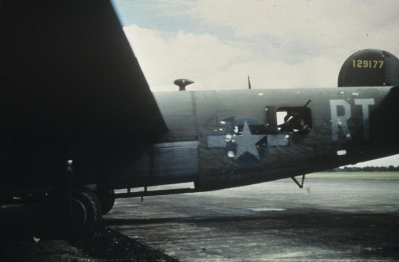 The battle scarred tail of a B-24 Liberator (RT-R, serial number 41-29177) nicknamed