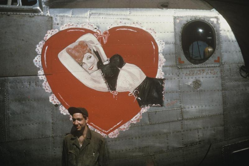 Sergeant Albert R Krassman of the 446th Bomb Group with a B-24 Liberator (RT-H, serial number 44-40268) nicknamed