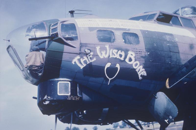 The nose art of a B-17 Flying Fortress (serial number 42-38058) nicknamed