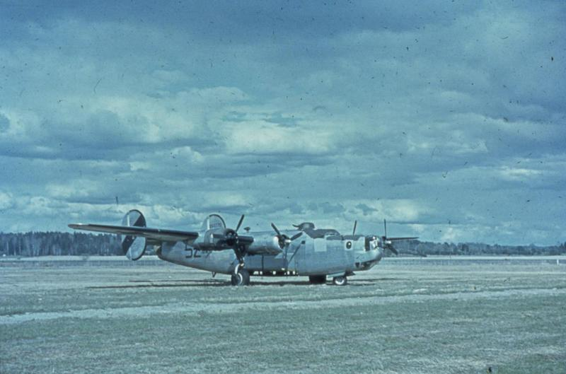 A B-24 Liberator (serial number 42-50770) of the 492nd Bomb Group. Written on slide casing: '250770, 5Z:I 856 BS, MIA 4/8/44 Sweden.'