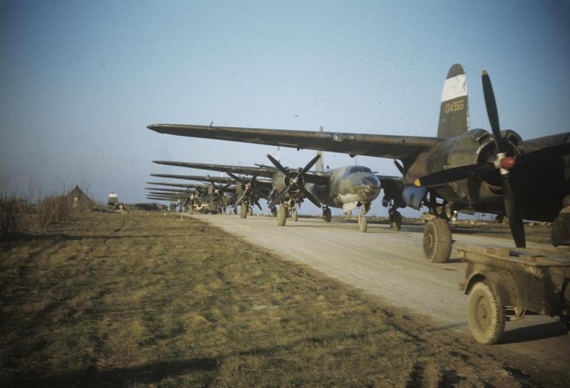 B-26 Marauders of the 323rd Bomb Group line up for take off at Laon, France. B-26 (serial number 41-34955) nicknamed