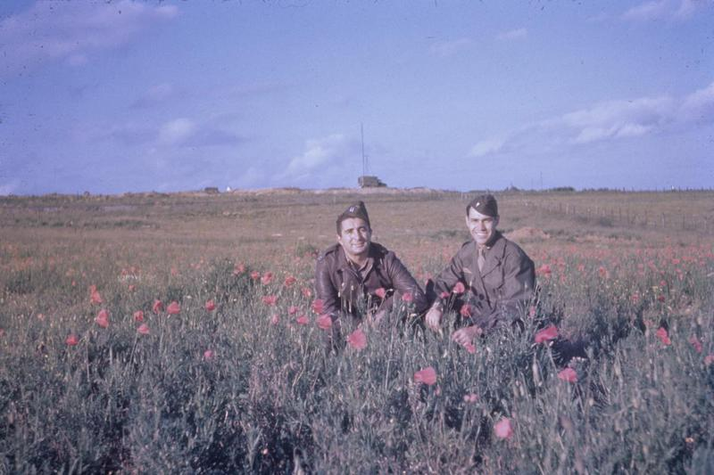 Two airmen of the 344th Bomb Group sitting in a field of poppies near their base at Cormeille-en-Vexin, France.
