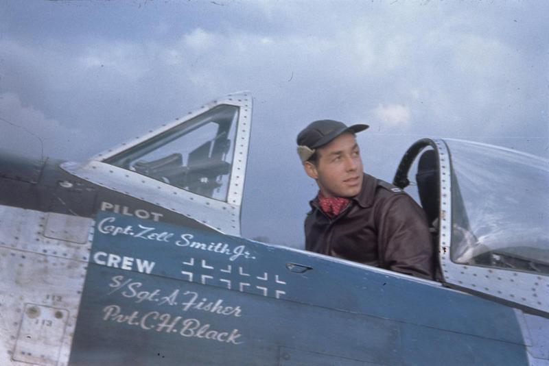 Captain Zell Smith Jr. of the 365th Fighter Group in the cockpit of his P-47D Thunderbolt. Image via DK Beaumeister, via Zell Smith.