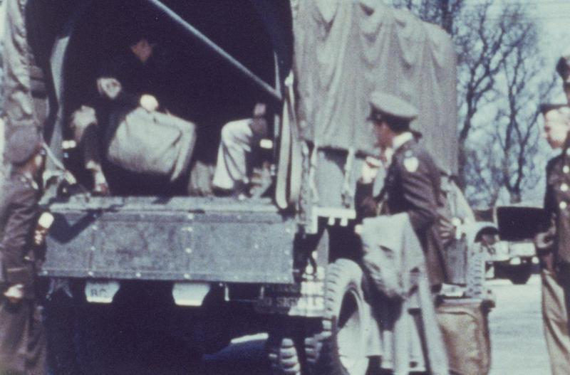 Personnel of the 391st Bomb Group board a truck to take them to Coombe House, Shaftesbury for a few days rest. Image via Bob Mynn.