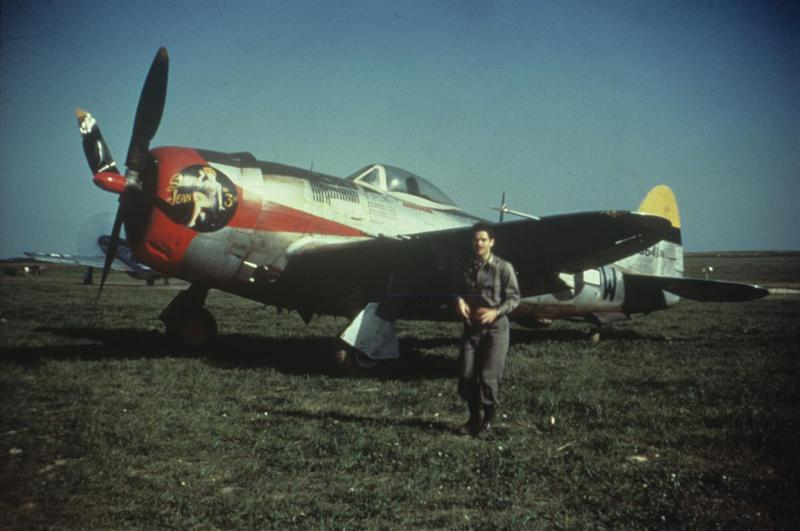 An airman of the 368th Fighter Group with a P-47 Thunderbolt nicknamed