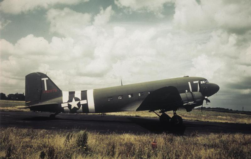 A C-47 Skytrain (I7-T, serial number 42-92879) of the 442nd Troop Carrier Group at Mount Farm, 1944. Image by Robert Astrella, 7th Photographic Reconnaissance Group .