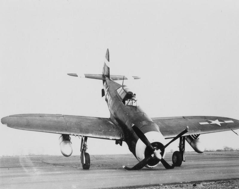 A P-47 Thunderbolt of the 351st Fighter Squadron, 353rd Fighter Group after a nose landing.  This is aircraft 42-75670 YJ-W