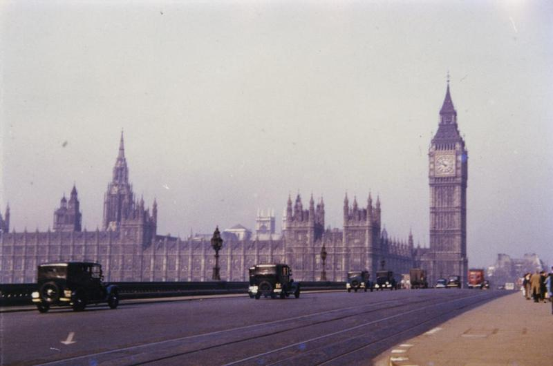 The Houses of Parliament and Westminster Bridge, London, photographed by T P Smith of the 359th Fighter Group. Printed caption on reverse: '359th FG Photos. Source: T.P. Smith via Char Baldridge, Historian. Description: #71; Big Ben and parliament bldgs in London.'
