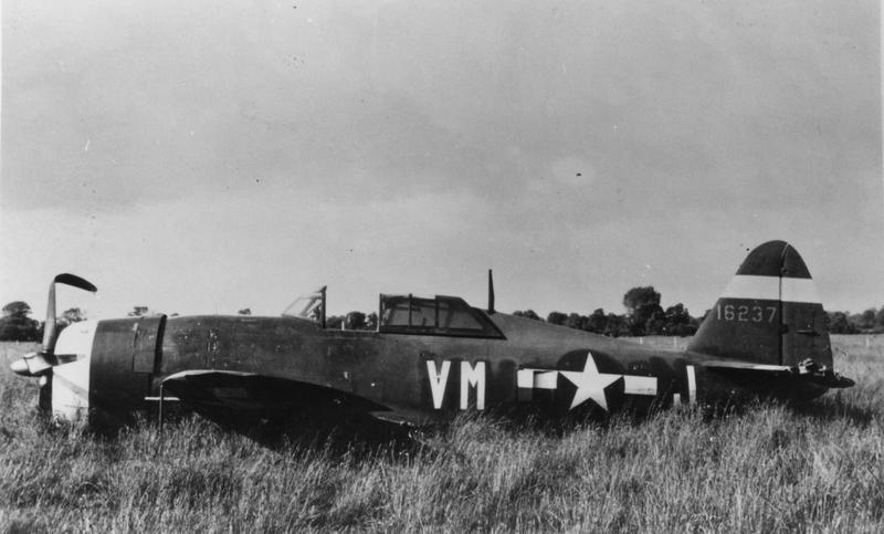 A crashed P-47 Thunderbolt (VM-J, serial number 41-6237) of the 551st Fighter Training Squadron, 495th Fighter Training Group.