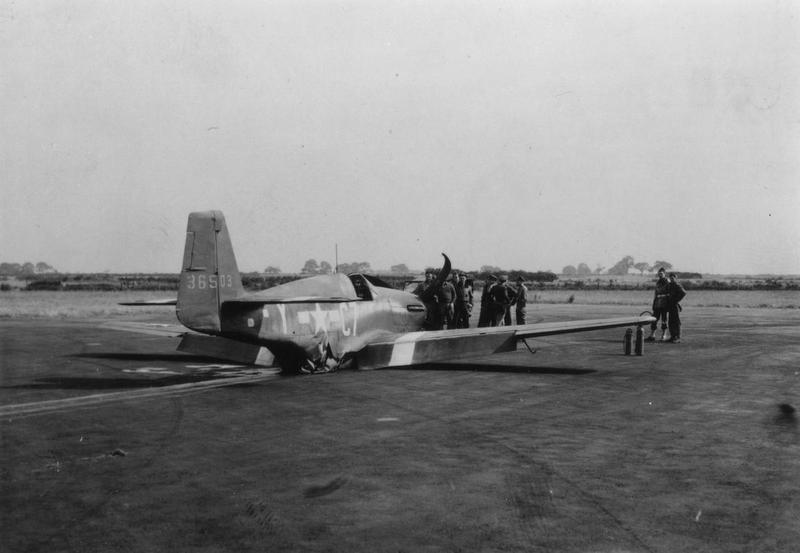 A crashed P-51 Mustang (C7-Y, serial number 43-6503) of the 555th Fighter Training Squadron, 496th Fighter Training Group.