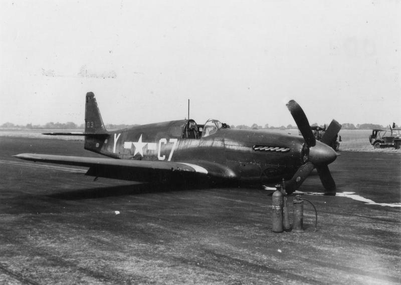 A crashed P-51 Mustang (C7-Y, serial number 43-6503) of the 555th Fighter Training Squadron, 496th Fighter Training Group. Handwritten caption on reverse: '496.'